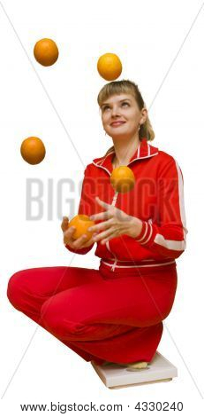The Girl Juggles With Oranges