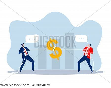 Two Businessman Pulling Dollar As Symbol Of Competition, Conflict Concept  Vector Illustration In Fl