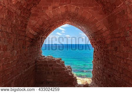 Apollonia Park, Israel. Mediterranean coast. Picturesque ruins of the medieval citadel of Arsuf and the Crusader Fortress.