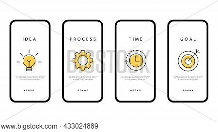 Business Strategy. A Step-by-step Plan For A Business In A Smartphone. Idea, Process, Time And Purpo