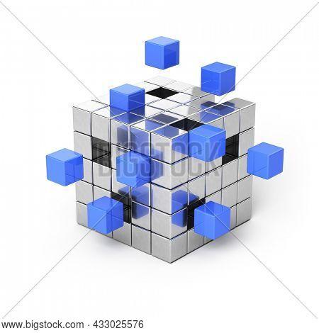 Teamwork business, communications concept - cube assembling from blocks. 3d rendering
