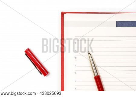 Open Clean Red Notebook With Red Pen. Notebook, Education, School, College. Gaining Knowledge, Plann