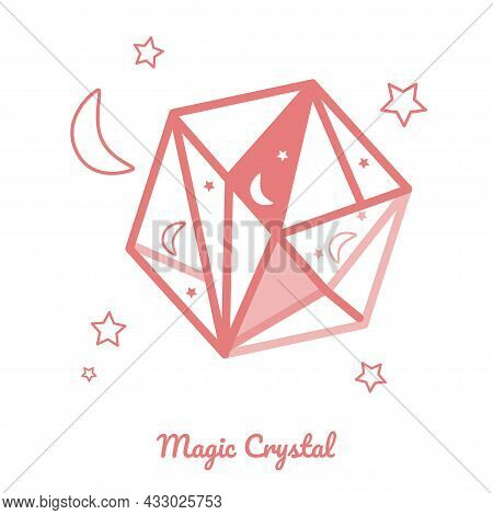 Magic Crystal For Fortune Telling, Divination Session, Symbol Of Esotericism. Vector Illustration Fo