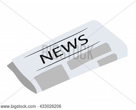 Hand-drawn Newspaper Isolated On White Background.   Vector Illustration