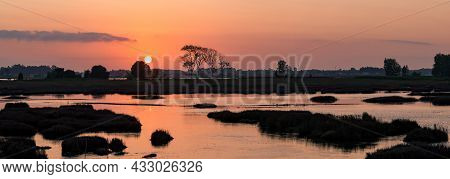 Warm Calm Sunset Over Swamps In Ovar, Portugal.