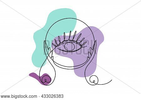 Magical Crystal Ball With Clairvoyant Eye - Esoteric Mystical Talisman With Abstract Organic Shapes.