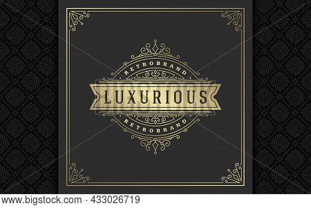 Vintage Logo Elegant Flourishes Line Art Graceful Ornaments Victorian Style Vector Template Design
