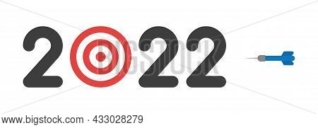 New Year 2022 Vector Concept, Bulls Eye Instead Of Zero And Dart, Hit The Target. Flat Colored Style