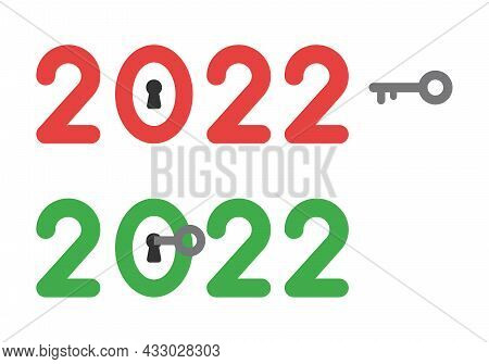 New Year 2022 Vector Concept, Keyhole Inside Zero And Unlock. Flat Colored Style.