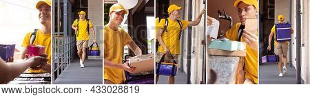 One Working Day Of Young Deliveryman. Courier In Yellow Uniform Delivers Order To Clients, Customers