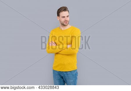 Put On Confidence. Confident Man Grey Background. Fashion Man Keep Arms Crossed