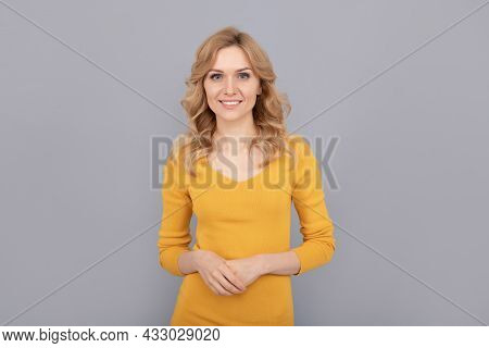 Beauty And Fashion. Female Fashion Model. Pretty Look Of Young Smiling Girl. Friendly Blonde Woman