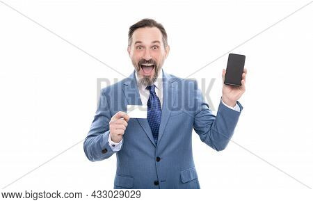 Customer Use Online Money On Mobile Phone. Man Show Business Name Card.