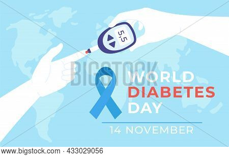 World Diabetes Day. Diabet Disease Poster With Hands Hold Glucometer And Measure Blood Sugar Level T