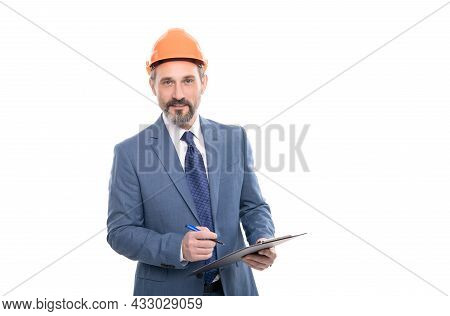 Cheerful Mature Man Signing Contract On Folder Isolated On White Copy Space, Professional Occupation
