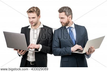 Doing Business Online. Digital Professionals. Businessmen Work On Computers. E-commerce Business