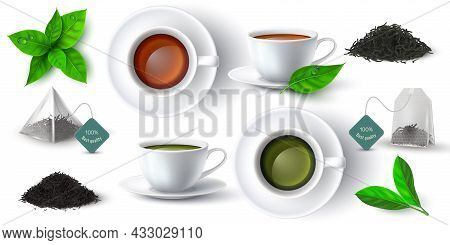 Realistic 3d Cup With Green And Black Tea, Leaves And Pyramid Teabag. Cups With Hot Drink Side And T