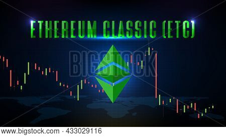 Abstract Futuristic Technology Background Of Ethereum Classic (etc) Price Graph Chart Coin Digital C