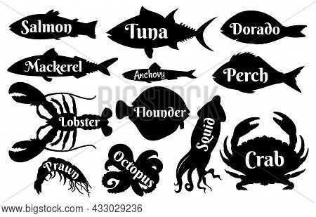 Fish And Seafood Silhouettes For Vintage Logo Or Label Icons. Ocean Salmon, Tuna, Dorado And Lobster