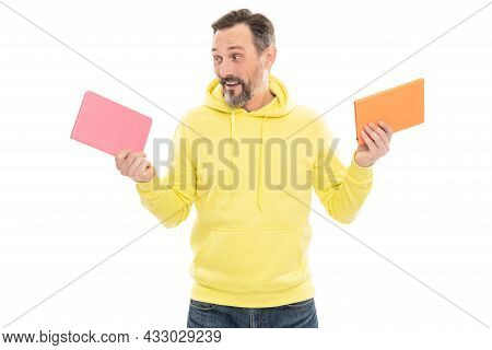 Literature Education. Mature Happy Man With Beard Hold Notebook. Smiling Senior Guy With Notepad