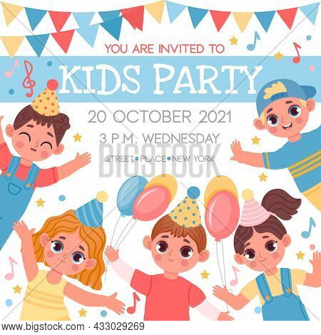 Invitation Poster For Birthday Or Kids Party With Cartoon Characters. School Or Kindergarten Event W