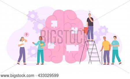 Alzheimer Or Dementia Disease Concept With Elder Characters And Doctors. Flat Human Brain With Lost
