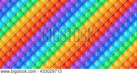 Cartoon Rainbow Pop It Toy Bubbles Seamless Pattern. Antistress Sensory Push Toys. Trendy Relaxation