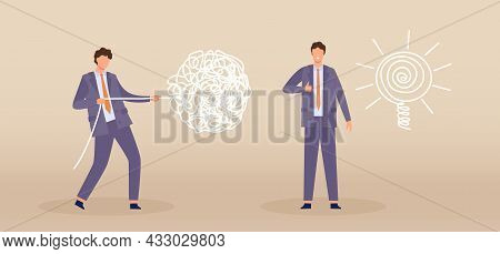 Business Problem Solving Process Concept With Chaos And Order Line. Flat Businessman Character Pull