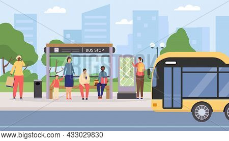Flat People Waiting At City Public Bus Stop. Passengers Sitting And Standing At Station, Bus Arrivin