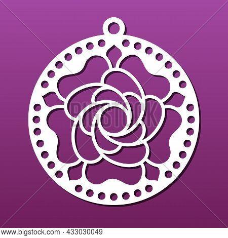 Laser Cnc Cut Mandala Pendant. Floral Pattern With Flower Petals. Circular Design For Medallion Or E