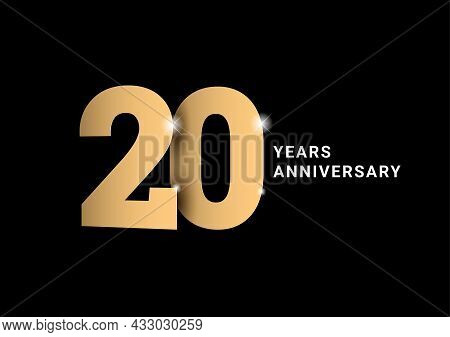 Anniversary 20. Gold 3d Numbers. Poster Template For Celebrating 20th Anniversary Event Party.