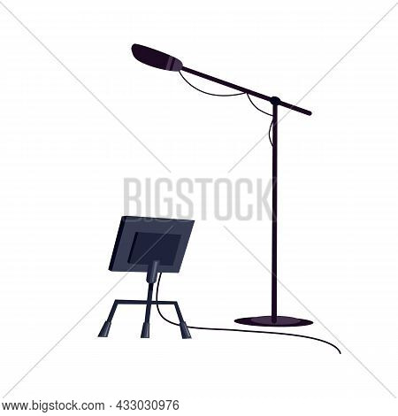 Vector Flat Cartoon Microphone On Stand And Rack Isolated On Empty Background-professional Tv Studio