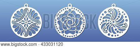 Mandala Pendants For Laser Cnc Cut. Stencil For Cutting Or Engraving. Medallion, Keyring , Coaster,