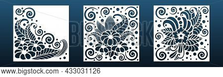 Laser Cnc Cut Panel Or Card Background, Stencil For Cnc Cutting, Engraving Or Silhouette Print. Wall