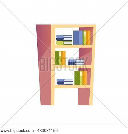 Vector Flat Cartoon Books On Bookcase Stand Isolated On Empty Background-furniture And Interior Elem