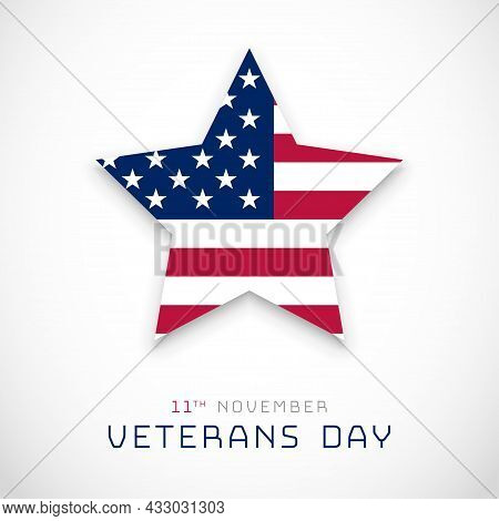 Veterans Day, November 11 Background With Usa Star Flag