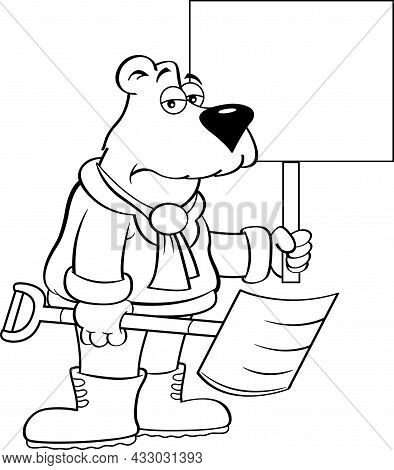 Black And White Illustration Of A Polar Bear Holding A Snow Shovel And A Sign.