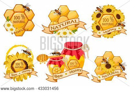 Vector Set Of Honey Emblems.vector Emblems With Honey, Honeycomb, Bees And Text Are Great For Decora