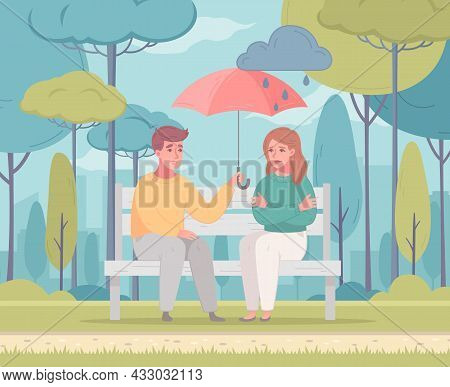 Empathy Characters Cartoon Composition With City Park Scenery And Woman Staying Under Umbrella Of Ma