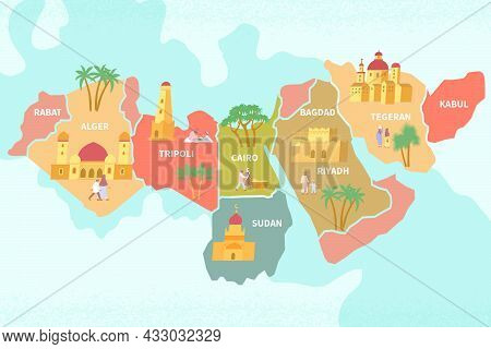 Multicolored Unrealistic Map Of The Area Depicting The Countries Of The Middle East Flat Vector Illu