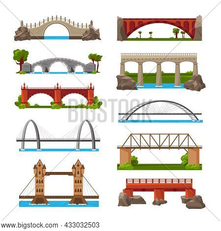 Bridges Set Of Isolated Icons With Cartoon Style Images Of Medieval And Modern Bridges With Towers V