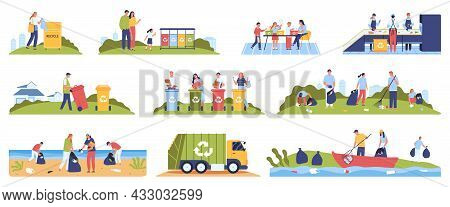 Set Of Isolated Garbage Recycling Compositions With Human Characters Collecting And Separating Waste