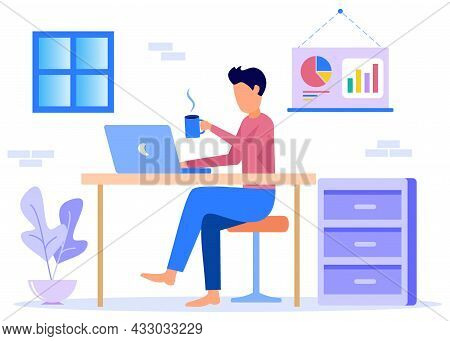 Vector Illustration Of Business Concepts, Work From Home In Leisure, Freelancers Working At Home Com