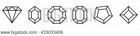 Set Of Diamond Icons With Different Shapes. Line Art Style. Vector Icons Isolated On White Backgroun