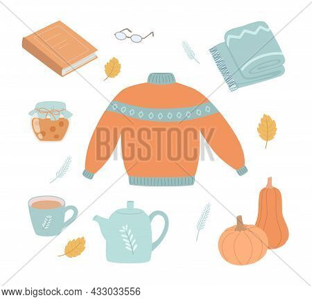 Autumn Set, Hand Drawn Elements: Fall Leaves, Sweater, Book, Blanket, Kettle And Other.