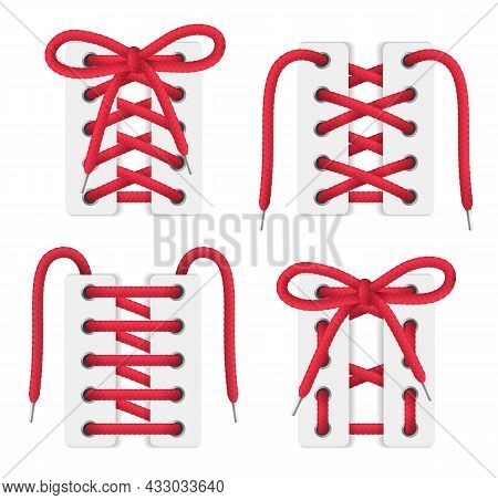 White Boots Shoes Corsets Red Lacing Realistic Set With Criss Cross Over Under Sawtooth Gap Patterns