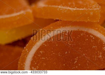 Multi-colored Shaped Marmalade Lemon Slices, Close-up, Selective Focus