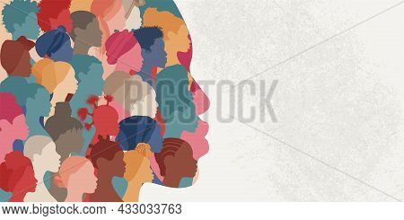 Woman Face Silhouette In Profile With A Group Of African And African American Women Faces Inside.con