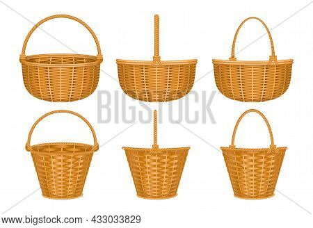 Basket Set Of Isolated Images With Wooden Basket With Isolated Images Of Baskets With Hand Handles V