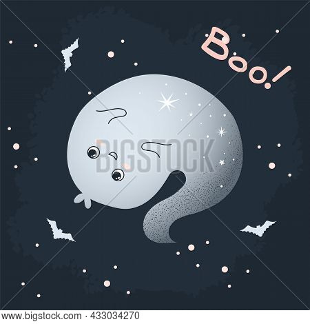 Ghost Humor Character Vector Illustration On Halloween Decoration. Cute Colorless Ghost Says Boo. Ma